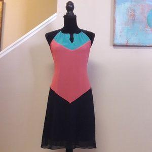Enfocus Studio/Sheer/ Color Block/Dress